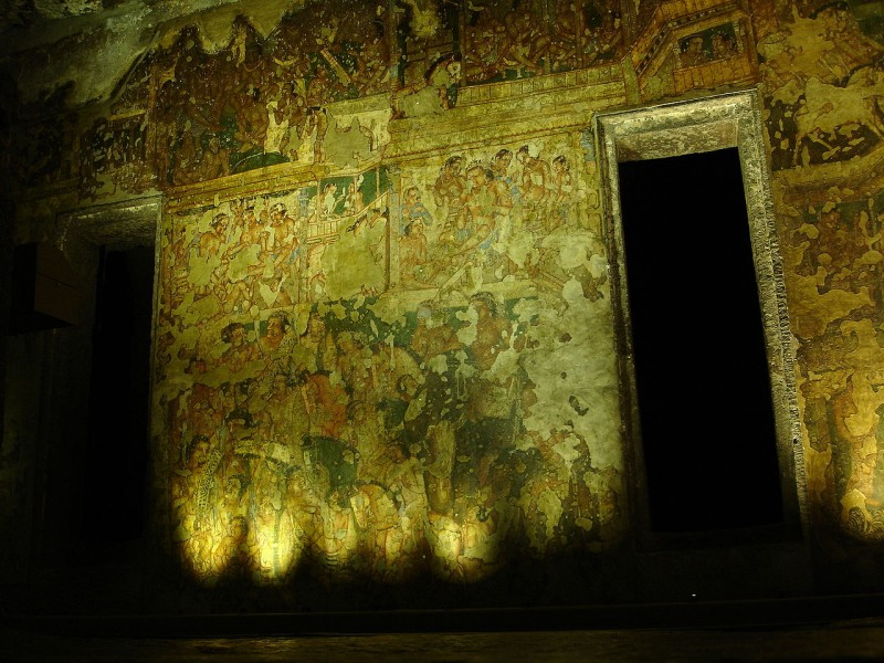 Ajanta Caves - Cave 2, showing the extensive paint loss of many areas