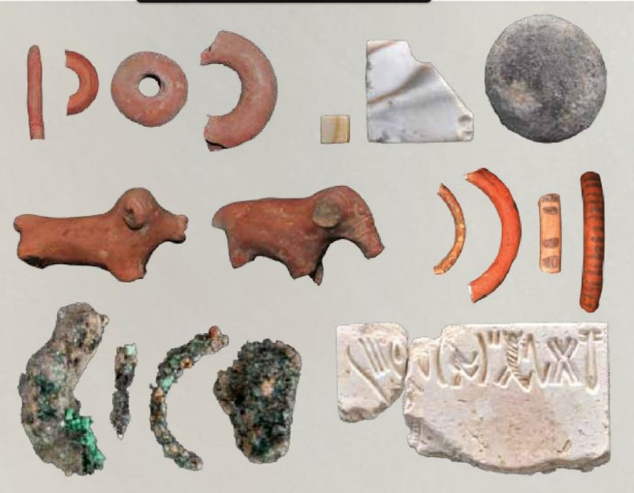 Terracotta toys, Broken bangle piece, copper objects and Harappan seal Dicovered at rakhigarhi