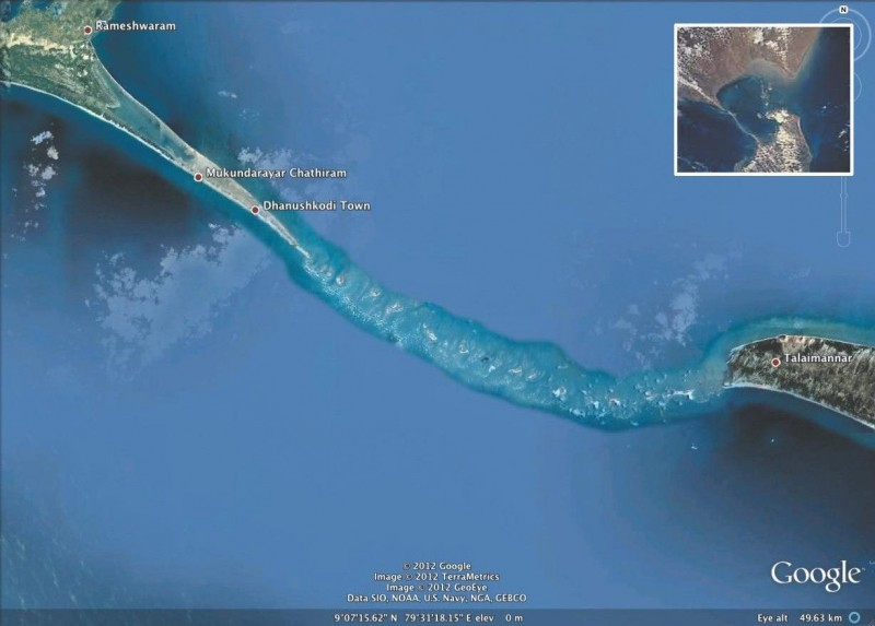 Rama Setu or Adam's bridge on Google map