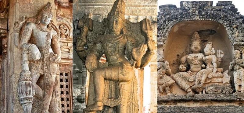 carvings depicting Hindu Gods in Virupaksha temple, At Hampi, Vijaynagar
