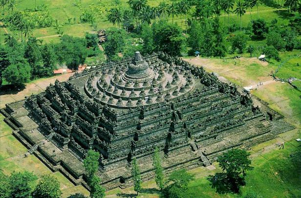 Borobudur temple complex of Indonesia.