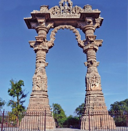 The richly carved 12th century Torana at Vadnagar