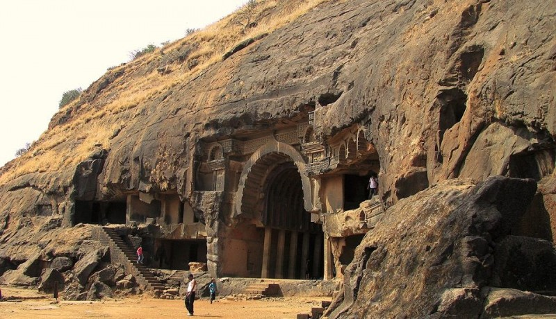 Rock Cut Bhaja caves in India