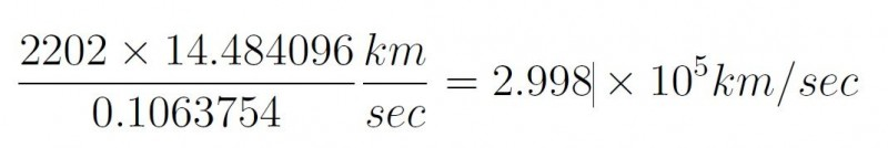 Speed of light Vedic calculation