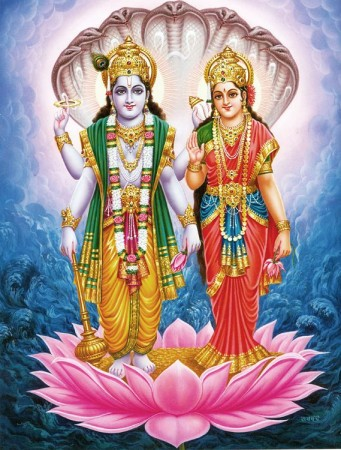 Vishnu and Lakshmi Standing on a Lotus Protected by Sheshnag