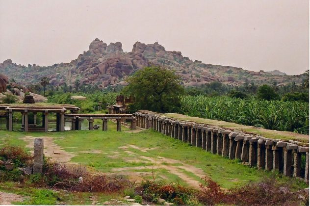 Ancient market place and plantation at Hampi