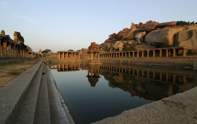 The sacred pushkarani or tank located on the eastern side of Krishna temple in Hampi, India