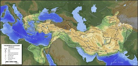 Map of Alexander's empire and his route