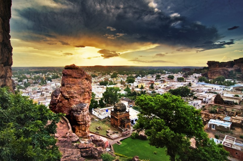 View of the Badami town from the top of the red sandstone outcrop which houses the four famous caves.