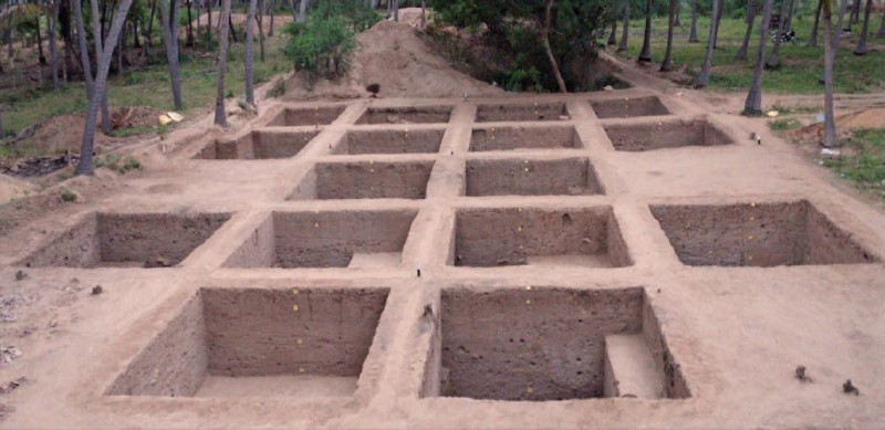 A view of excavated Trenches at Madhurai
