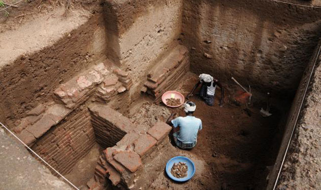 The ancient brick structure found at the excavation site.