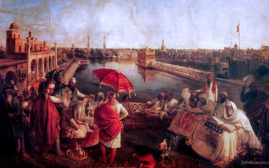 Maharaja Ranjit Singh listening to the Granth being recited near the Golden Temple, Amritsar. The lost palace dominates the background appearing on the left side of the painting.