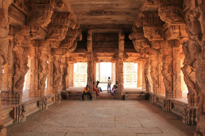 Ornately decorated mandapa of Madhavaraya temple at Gandikota
