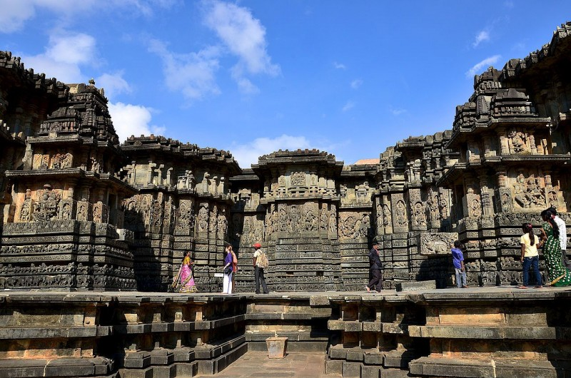 Profile of extensive relief sculpture at Hoysaleshwara temple in Halebidu