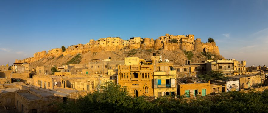 Beautiful panorama of the Golden Fort of Jaisalmer, India