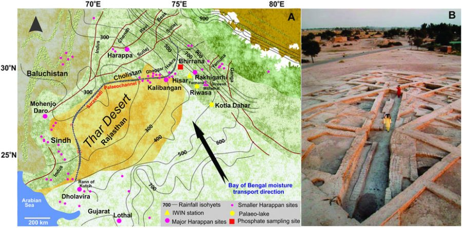 Map Showing Indus Valley Sites and Decline of Civilization