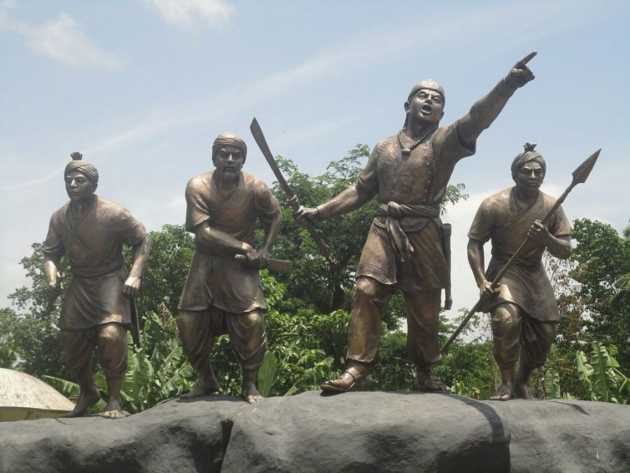 Statue of Lachit Borphukan (in the middle) at Sivasagar with other Ahom Warriors.