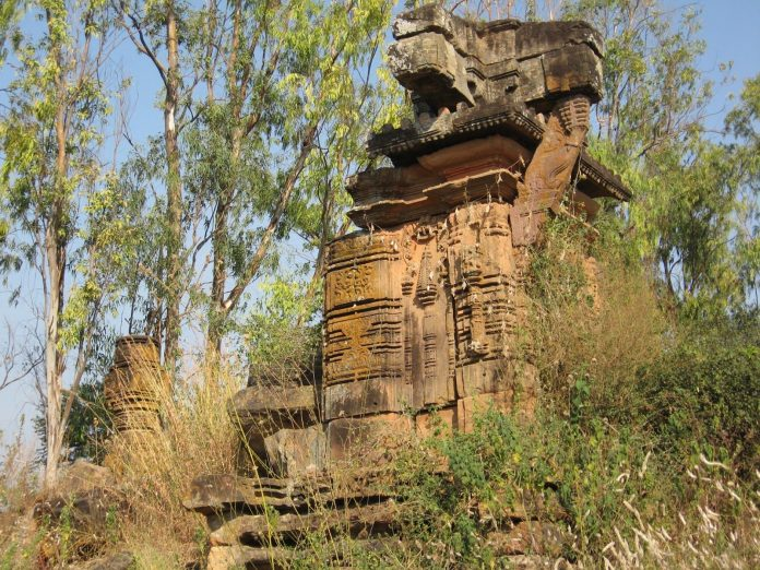 Ruins of ancient Hindu Temple at Manthani, Telangana, India