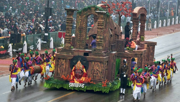 Jharkhand tableau on display during the 66th Republic Day parade at Rajpath in New Delhi showcasing the temples of the village Maluti