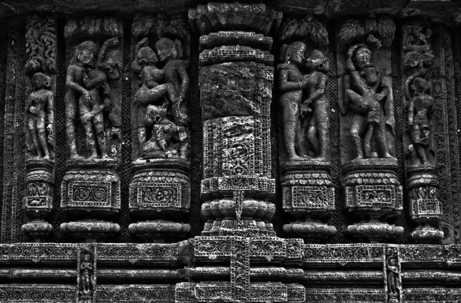 Erotic stone carving at the Konark Sun Temple