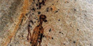 Cave painting depicting aliens