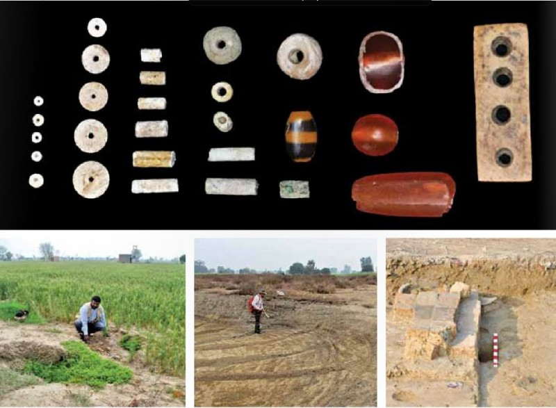 Ornaments made by steatite fience ivory bone and carnelian (below) At the excavation site and an excavated bathroom - Rakhigarhi harappa