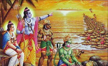 The ape-army building the bridge of Rama