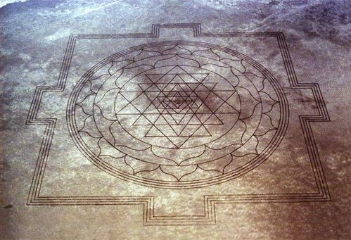 Aerial view of Sri Yantra carved on dry lake bed in Oregon
