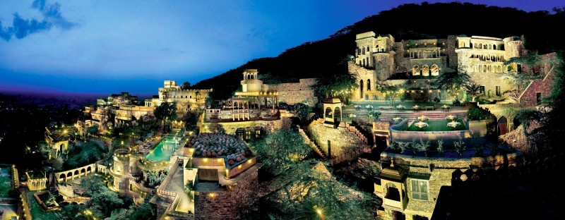 Neemrana Fort Palace Night Panorama