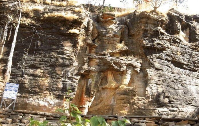 Rock Cut Mountain Statue of Lord Narasimha