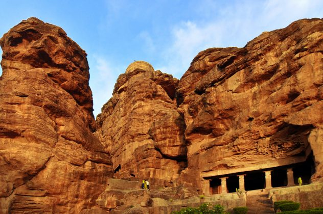 Badami Cave 1 With The Sand Stone Cliffs